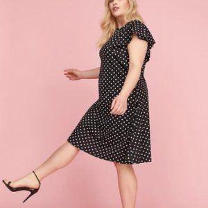 Lane Bryant Polka Dot Ruffle Sleeve Dress 22/24